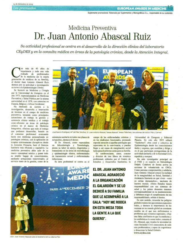EUROPEAN AWARDS IN MEDICINE 2019 MEDICINA PREVENTIVA DR. JUAN ANTONIO ABASCAL RUIZ